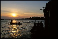Sunrise on the Hau Gian river. Chau Doc, Vietnam (color)