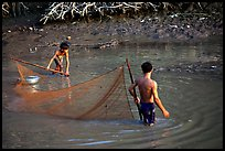 Fishing the river, near Long Xuyen. Mekong Delta, Vietnam ( color)