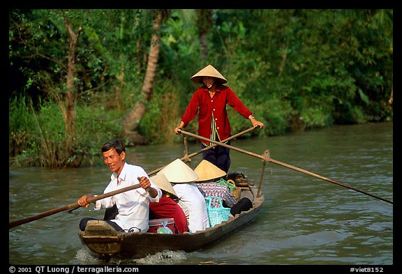 Back from the market on a canal near Phung Hiep. Can Tho, Vietnam (color)