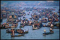 Concentration of small boats at the Cai Rang Floating market. Can Tho, Vietnam (color)
