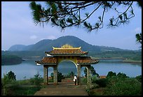 Pagoda set aside one of the many lakes. Da Lat, Vietnam