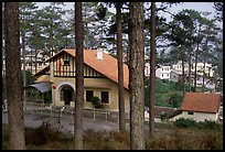 Basque style villa of colonial period in the pine-covered hills. Da Lat, Vietnam ( color)