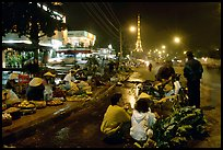 Night market and the local Eiffel tower. Da Lat, Vietnam (color)