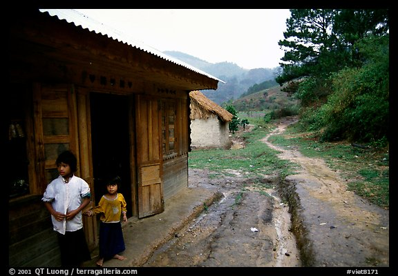 A minority village in the mountains. Da Lat, Vietnam (color)