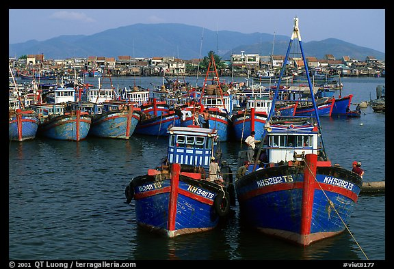 Colorfull fishing boats, Nha Trang. Vietnam (color)