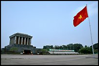 Ho Chi Minh mausoleum and national flag. Hanoi, Vietnam