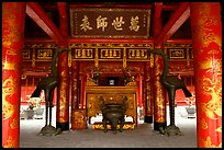 Red columns and altar with phoenix, Temple of the Literature. Hanoi, Vietnam (color)