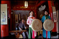 Traditional musicians and singers, Temple of Literature. Hanoi, Vietnam (color)