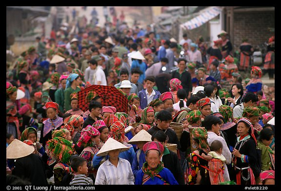 Colorful crowd at the sunday market. Bac Ha, Vietnam (color)