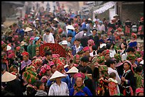 Colorful crowd at the sunday market. Bac Ha, Vietnam