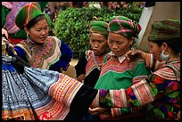 Fashion shopping at the sunday market. Bac Ha, Vietnam
