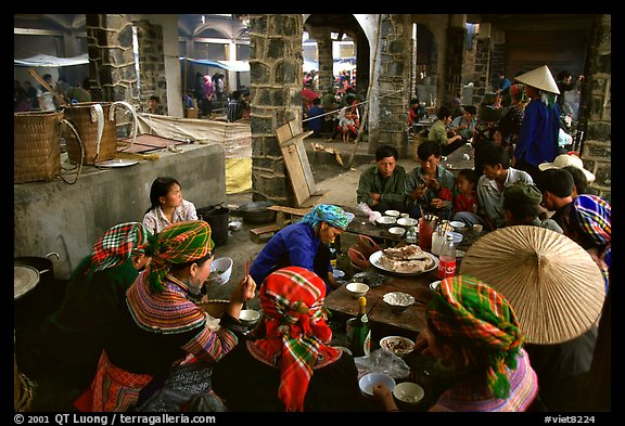 Food stalls at sunday market. Bac Ha, Vietnam (color)
