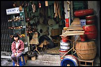 Traditional musical instruments for sale, old quarter. Hanoi, Vietnam (color)
