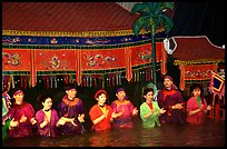Artists salute after a water puppets performance in 1999. Hanoi, Vietnam