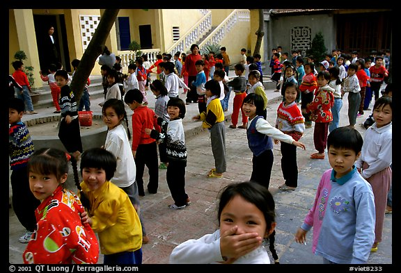 Children, School yard. Hanoi, Vietnam