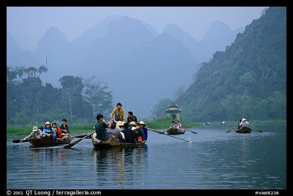 Journey along the river. Perfume Pagoda, Vietnam (color)