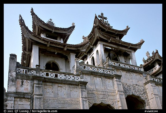 Phat Diem cathedral, built in chinese architectural style. Ninh Binh,  Vietnam (color)