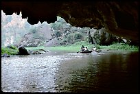 One of the three river underground passages of Tam Coc. Ninh Binh,  Vietnam (color)