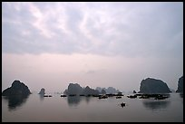 Distant view of the bay with its three thousands limestone islets. Halong Bay, Vietnam (color)