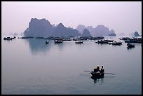 Fishing boat fleet. Halong Bay, Vietnam (color)