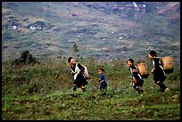 Hmong women back from the fields. The back basket is typically used by mountain tribes. Sapa, Vietnam