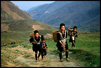 Hmong women returning to their village, which cannot be reached by the road. Sapa, Vietnam ( color)