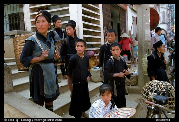 Hmong people at the market. The Hmong constitue the largest hill tribe (ethnic minority). Sapa, Vietnam (color)
