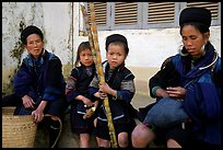 Hmong women kids with sugar cane. Sapa, Vietnam (color)