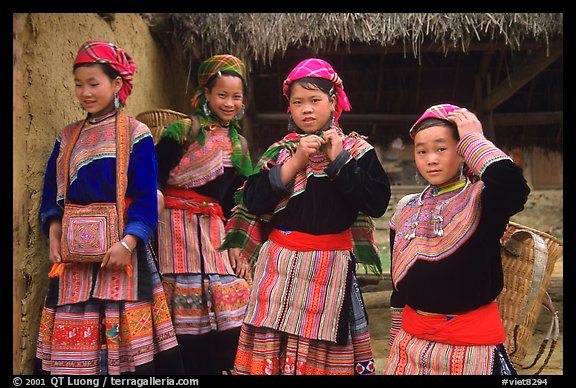 Young Flower Hmong  women. Bac Ha, Vietnam (color)