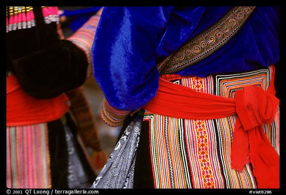 Detail of  Flower Hmong dress. Bac Ha, Vietnam