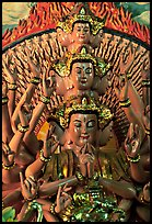 Detail of a buddhist sculpture with many heads. Ha Tien, Vietnam ( color)