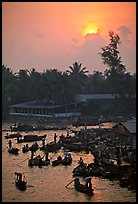 River activity at sunrise. Can Tho, Vietnam