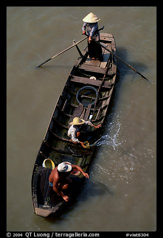 Small boat seen from above. Can Tho, Vietnam (color)