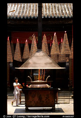 Ritual chimney and incense coils, Cholon. Cholon, District 5, Ho Chi Minh City, Vietnam