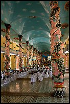 Interior of the Great Caodai Temple. Tay Ninh, Vietnam (color)