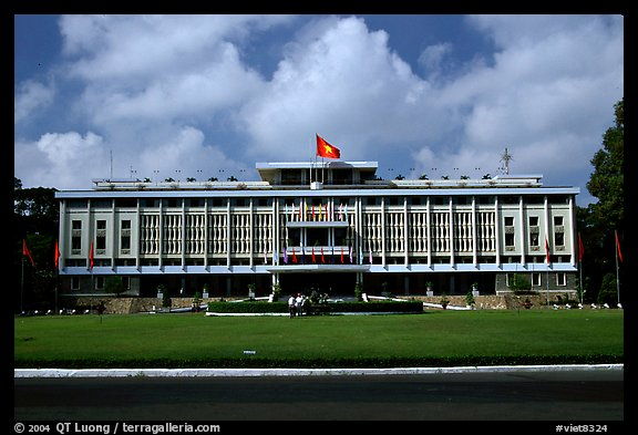 Reunification Palace, the former presidential palace of South Vietnam. Ho Chi Minh City, Vietnam (color)