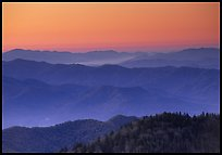 Ridges at dawn, Great Smoky Mountains National Park.