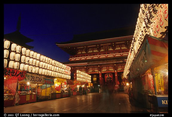 Nakamise-dori and  Senso-ji temple by night. Tokyo, Japan (color)
