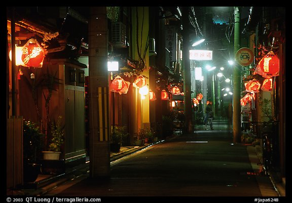 Narrow alley by night. Kyoto, Japan (color)