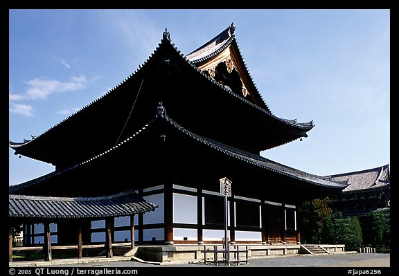 Classical roof shapes of a Zen temple. Kyoto, Japan (color)
