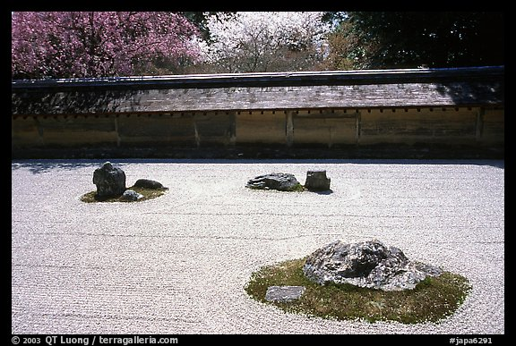 Classic stone and raked sand Zen garden, Ryoan-ji Temple. Kyoto, Japan (color)