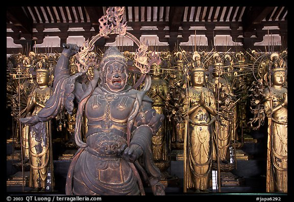 Some of the 1001 statues of the thousand-armed Kannon (buddhist goddess of mercy), Sanjusangen-do Temple. Kyoto, Japan