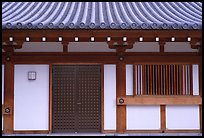 Roof and wall detail, Sanjusangen-do Temple. Kyoto, Japan ( color)