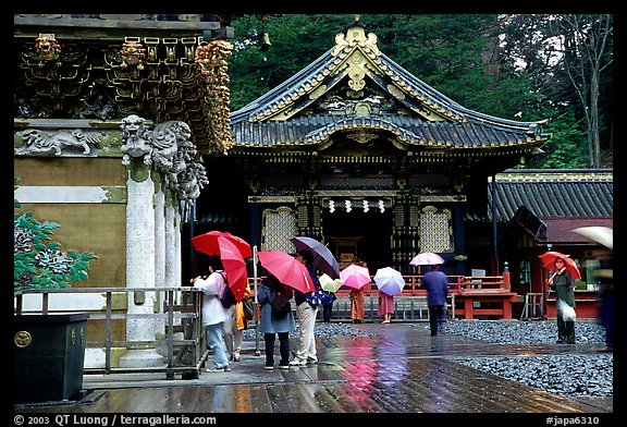 Honden (main hall) of Tosho-gu Shrine on a rainy day. Nikko, Japan (color)