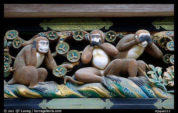 Three-monkey relief carving (hear no evil, see no evil, speak no evil) on Shinkyusha. Nikko, Japan (color)