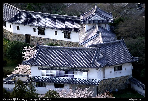 Secondary structures in castle. Himeji, Japan (color)