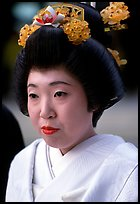 Bride with traditional make-up. Tokyo, Japan
