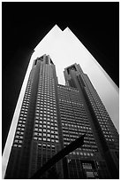 Tokyo Metropolitan Government offices, designed by Tange Kenzo. Tokyo, Japan (black and white)