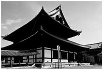 Classical roof shapes of a Zen temple. Kyoto, Japan ( black and white)