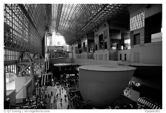 Train station hall. Kyoto, Japan (black and white)